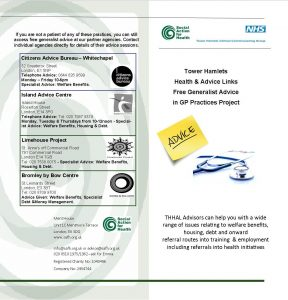 THHAL Leaflet of GP advice outreach sites 17-18