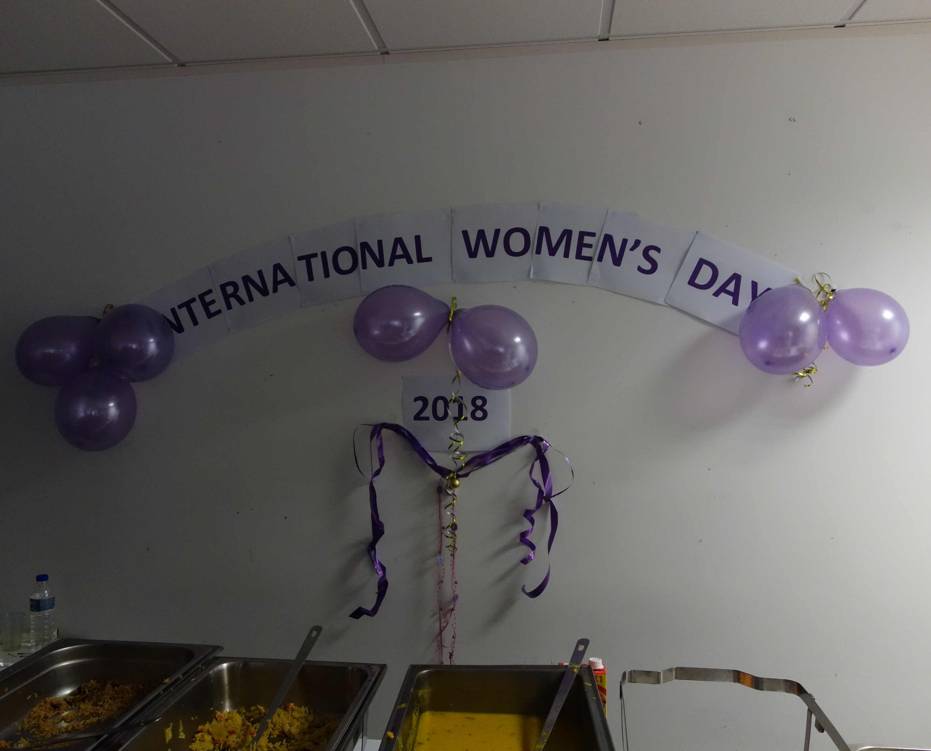 Banner on wall during International Women's Day 2018