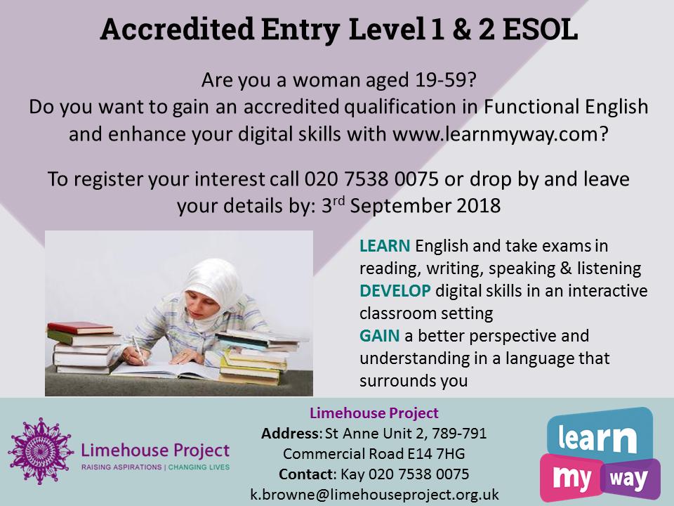 ESOL Entry 1 and 2 leaflet for Sept 2018