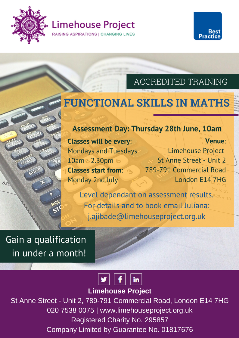 Functional Skills in Maths course flyer