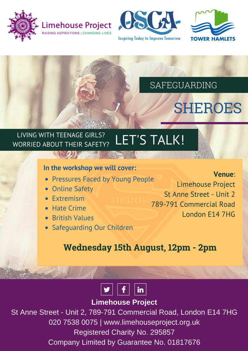 Sheroes Workshop flyer for Tower Hamlets - date 15th August 12pm
