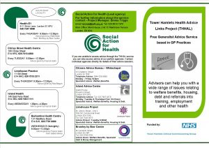THHAL Leaflet of GP advice outreach sites 18-19