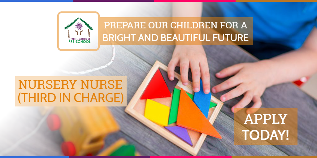 Background image of hands of a child playing with colourful blocks with details of job advert for nursery nurse