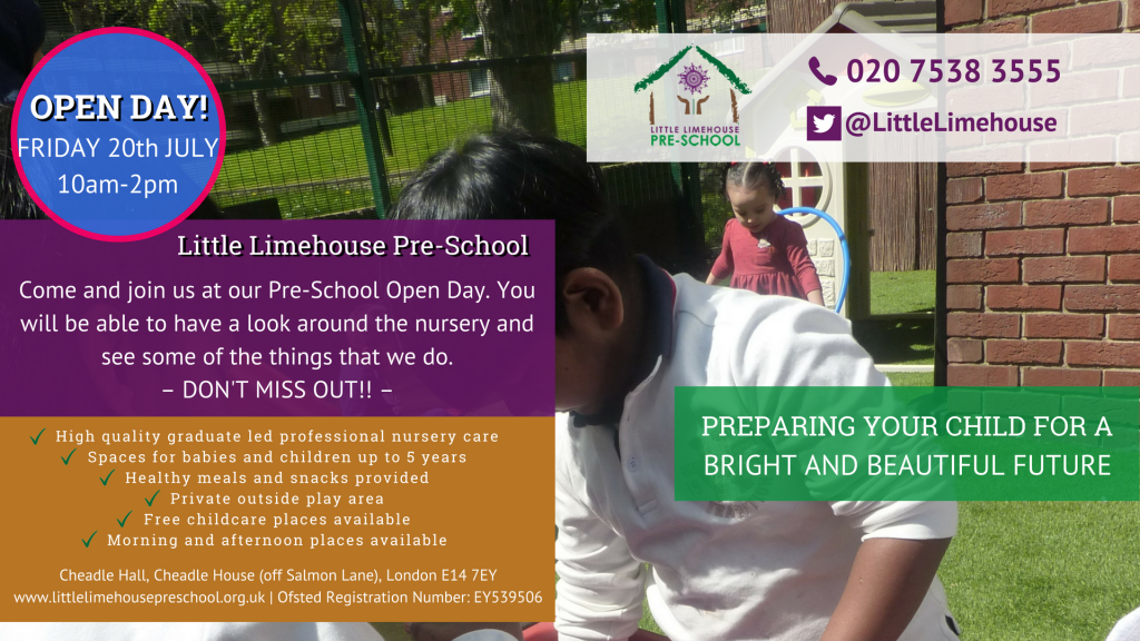 Nursery Open Day banner - 20th June