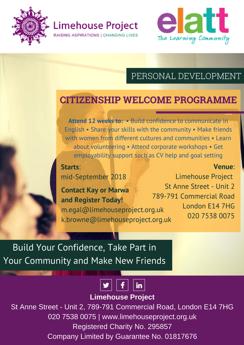 ELATT poster - Citizenship Welcome Personal & Professional Development course