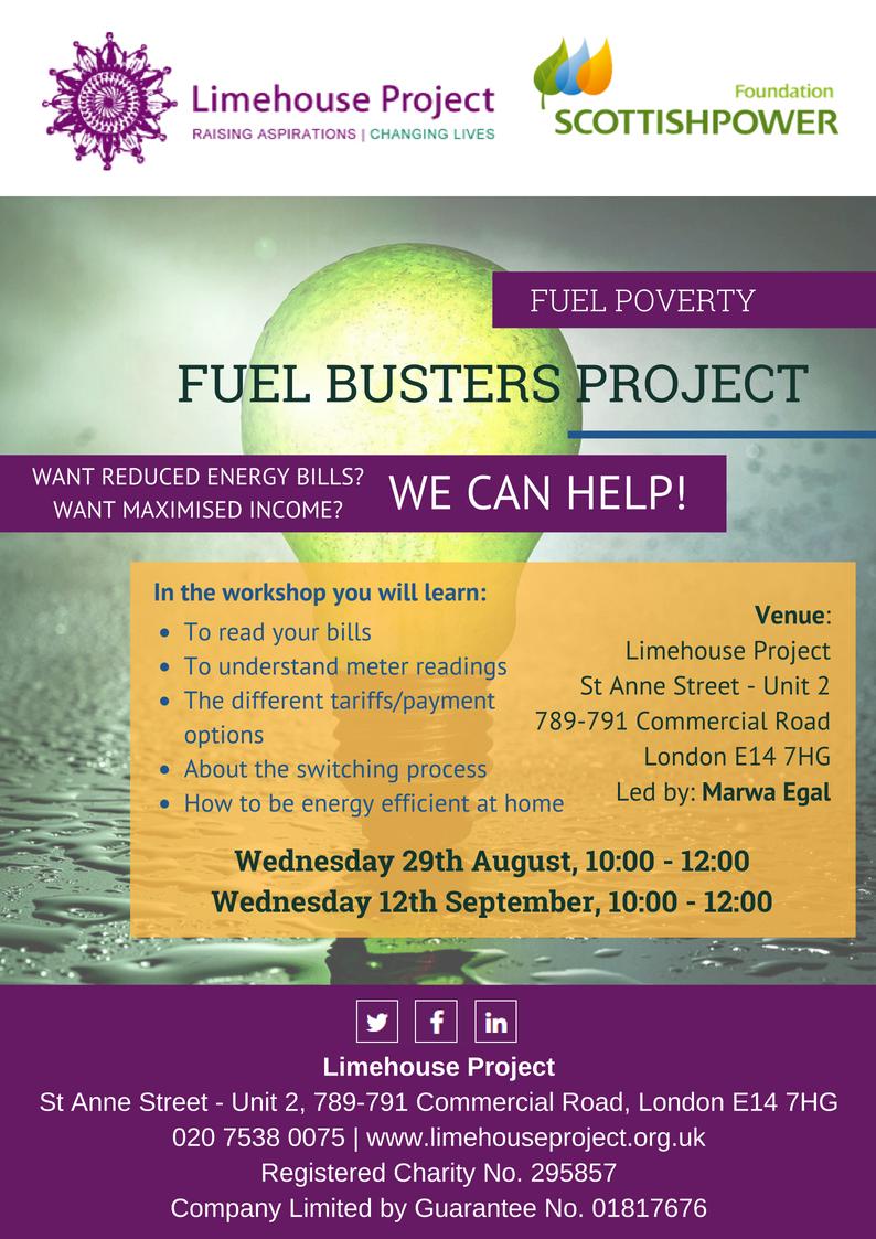 Fule Buster (Energy Saving) Workshop flyer